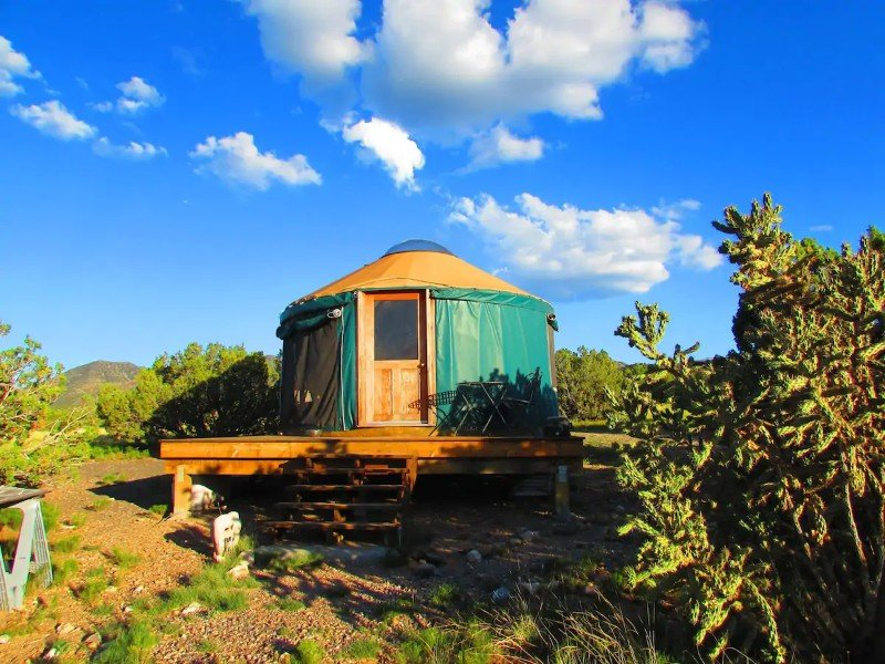 The yurt at Shanti Community in Madrid, NM