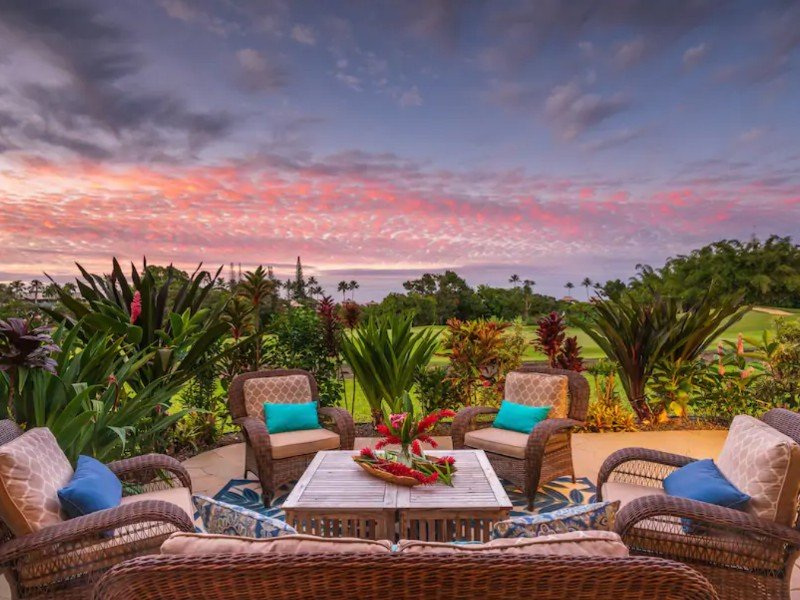 Tropical sunset from the furnished patio at Princeville, Kauai house