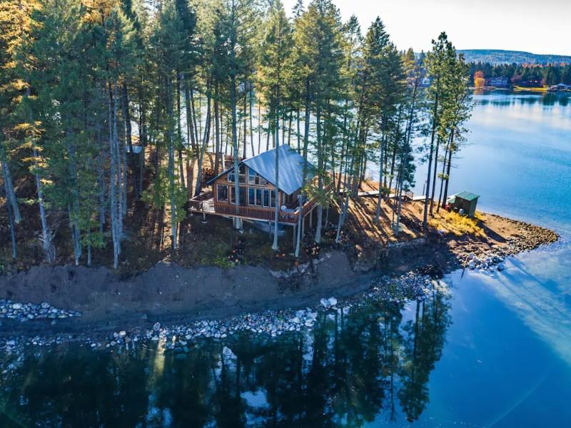 Waterfront Island Cabin, Bigfork, Montana