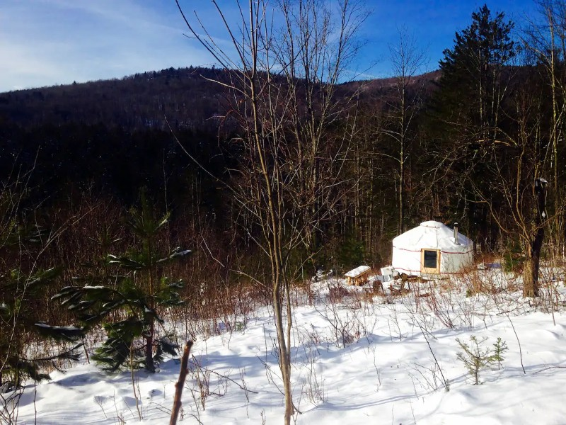 Winter at Four-Season Lower Yurt Stay on VT Homestead