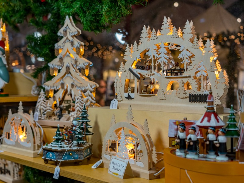 Specialty items are on sale at the Christkindlmarket.
