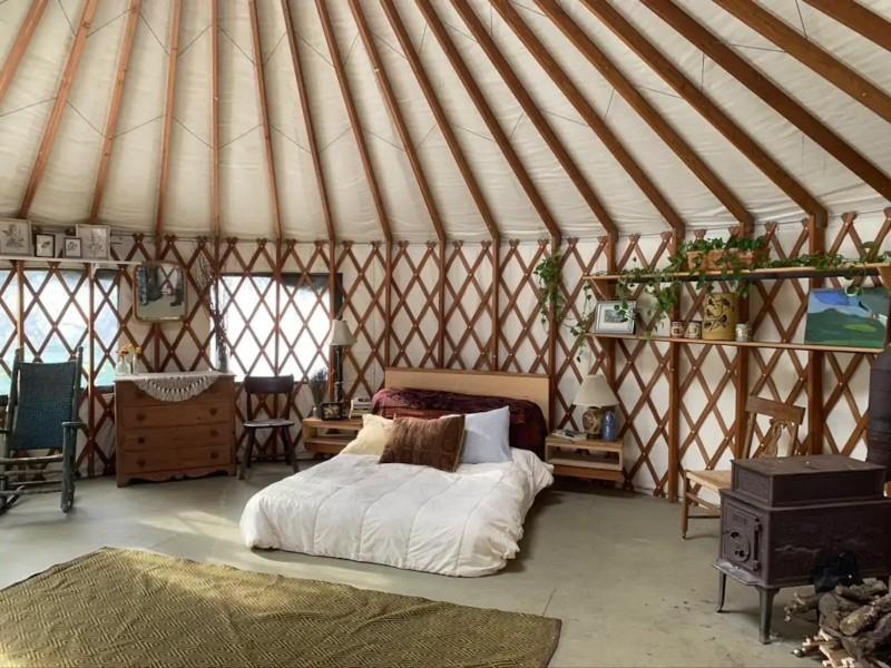 Inside Cozy Mountain Yurt on Organic Farm