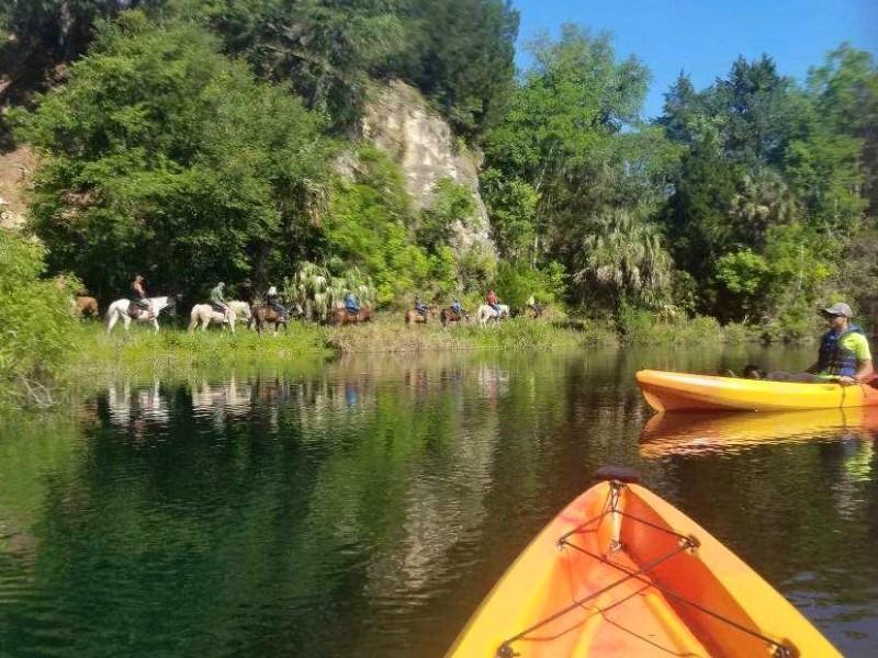 Kayaking and horseback riding at The Canyons Zip Line and Adventure Park, Ocala, Florida