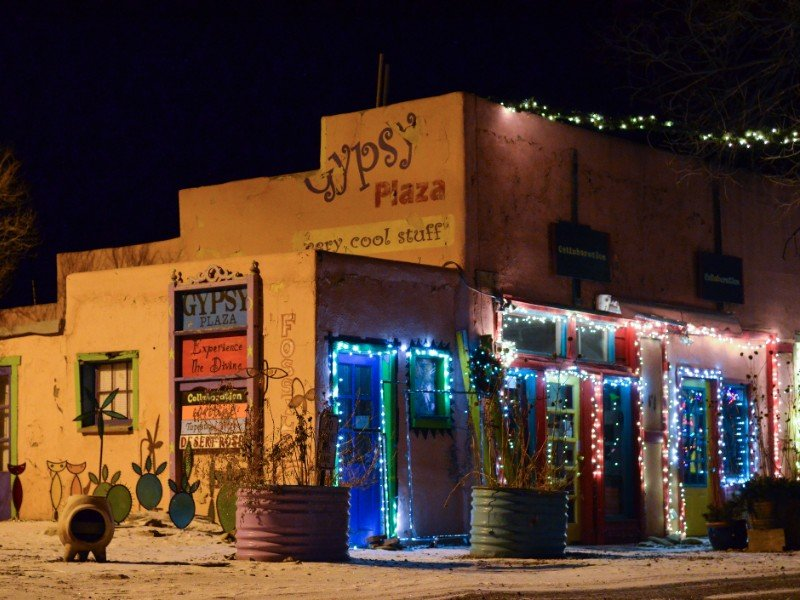 Gypsy Plaza in Madrid New Mexico at night during the Christmas Seasonal Holiday.
