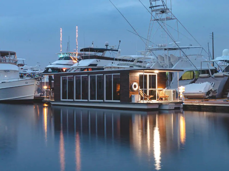 View of Modern Houseboat on the Water