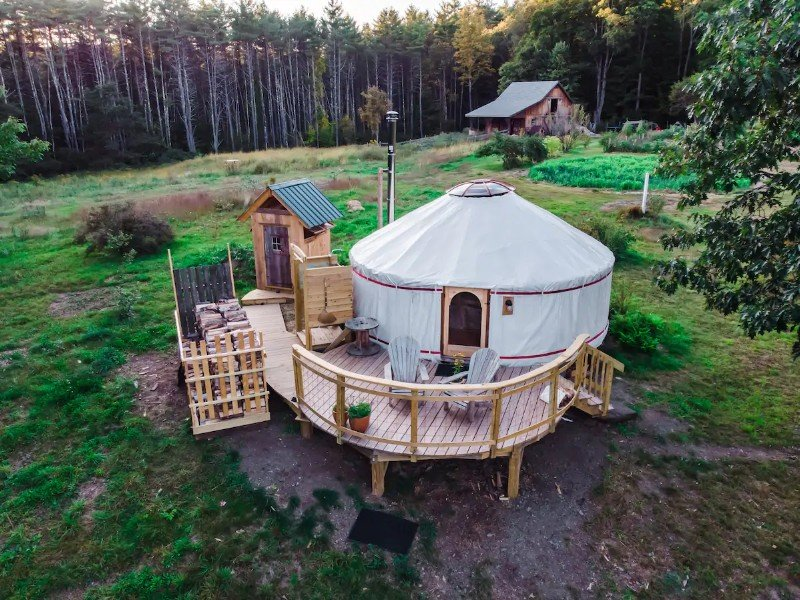 Aerial view of Pristine and Luxe Yurt, Surrounded by Nature