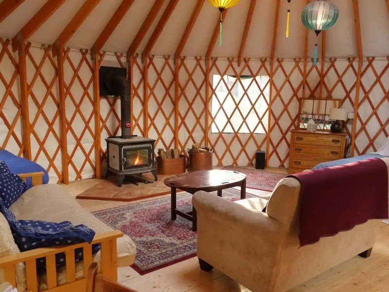Inside Private 4-Season Country Yurt Close to Town