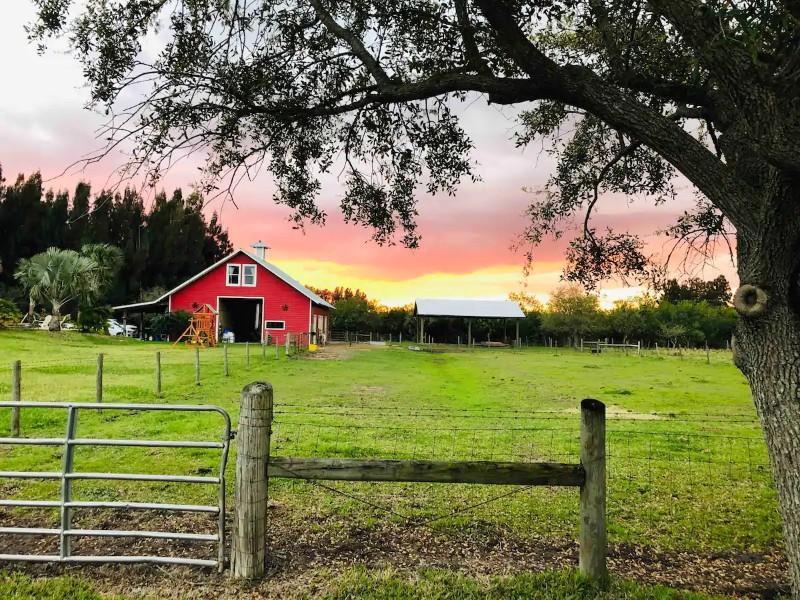 Sunset at Private Barn Studio at Pura Vida Florida Farm