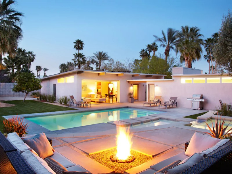 Fire and pool at Private Meiselman Mid-Century Modern with Views and Stunning Saltwater Pool