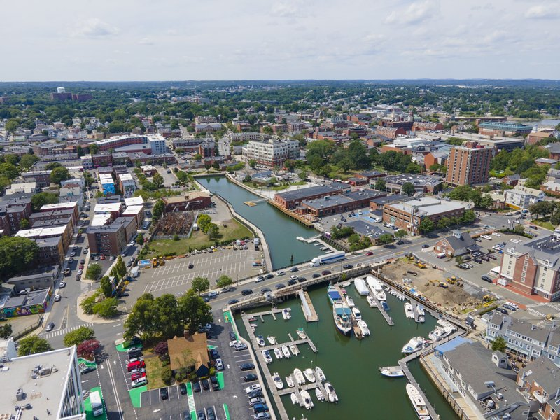 Aerial view of Salem historic city center and Salem Harbor in City of Salem, Massachusetts