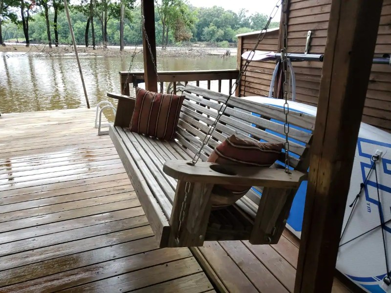 Porch swing at Float on the Ouachita River