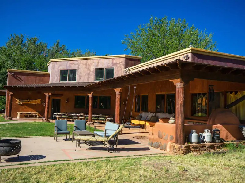 Exterior of Retreat Center with 7 Rooms and Yoga Barn on Oak Creek