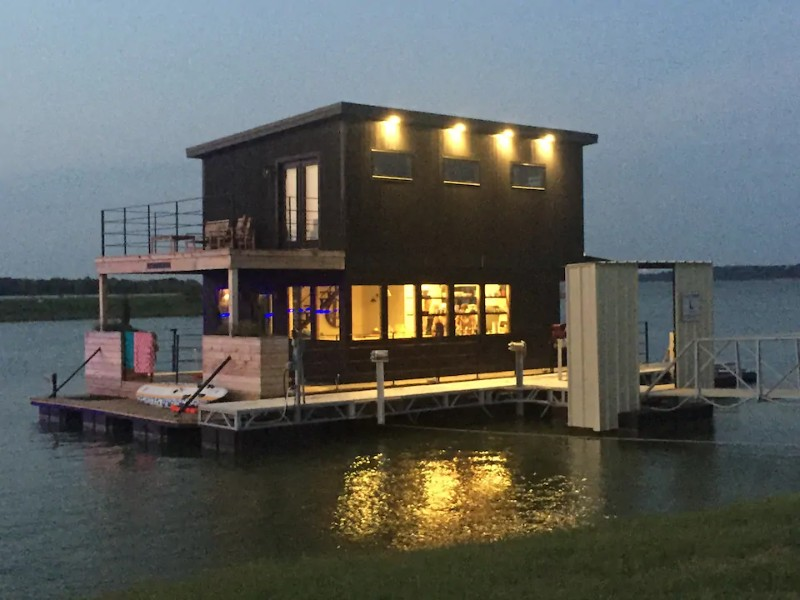 """Evening view of Waco Houseboat as Seen on """"Fixer Upper"""""""