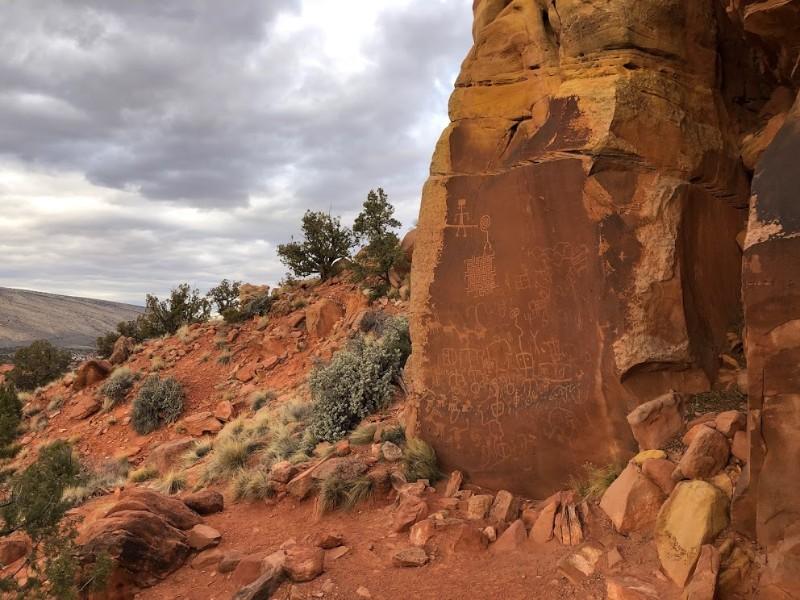 Rock art along trail