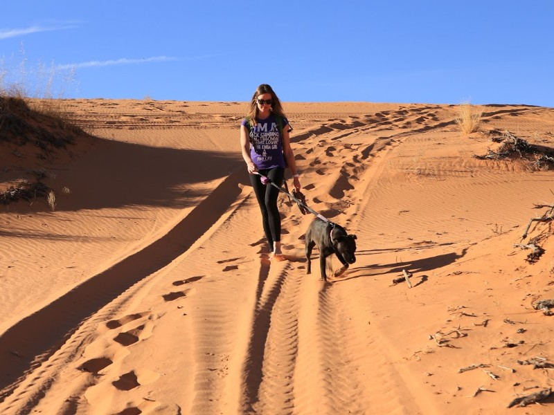 Walking in the Pink Coral Sand Dunes