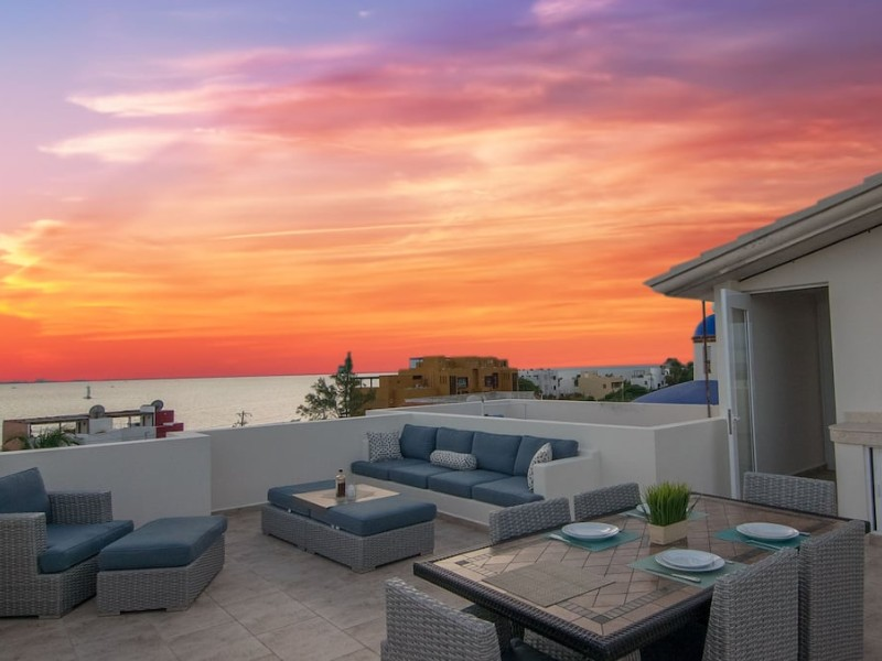 Rooftop deck at sunset on 'Experience Luxury on Isla Mujeres'