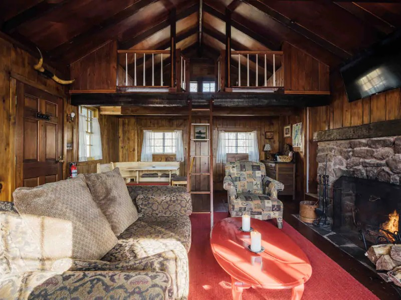 Interior of Little Red Cabin