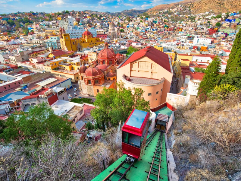 Scenic city lookout and panoramic views from the Guanajuato funicular