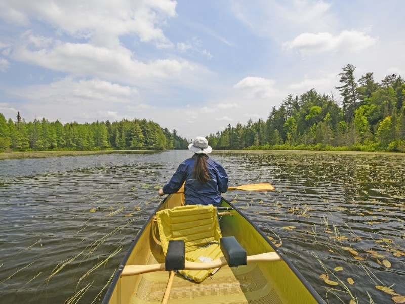 Canoer on a Crooked Lake in the Sylvania Wilderness in Northern Michigan