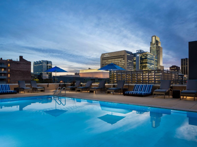 View of the pool and skyline at Omaha Marriott Downtown at the Capitol District