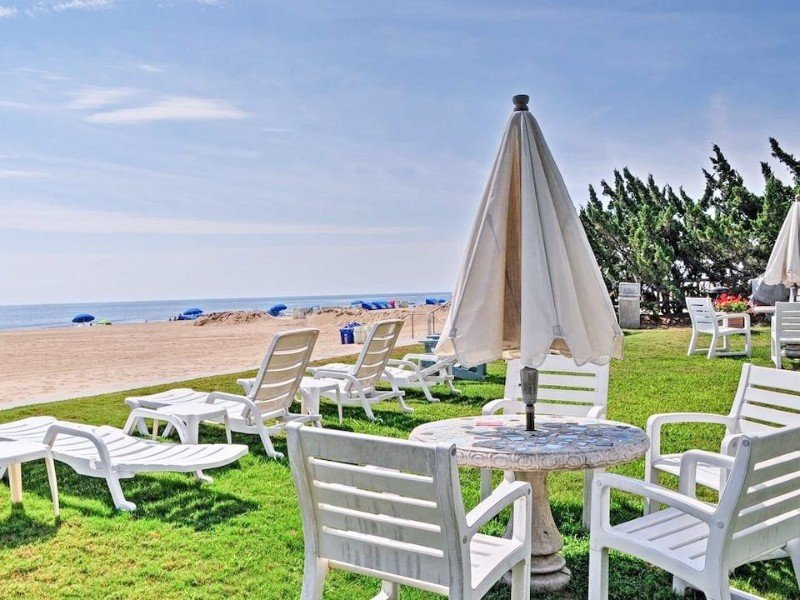 Outside Seating at Oceanfront Studio by Boardwalk, Beach, and Pool