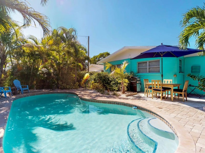 Pool at Old Florida-style cottage w private heated pool