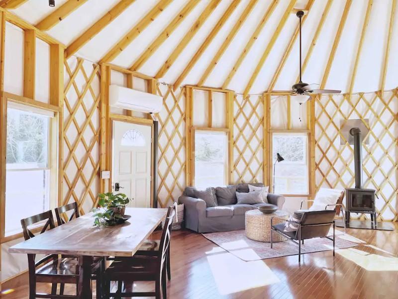 Interior at Yurt at Stillhouse Farm