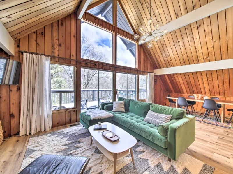 Renovated MCM A-Frame Cabin w/ Forest Views & Deck
