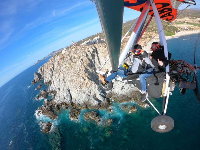 powered hang gliding along the Cabo coast, Mexico