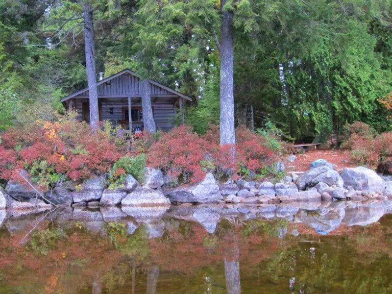 Walk to this secluded lakeside cabin in downeast Maine