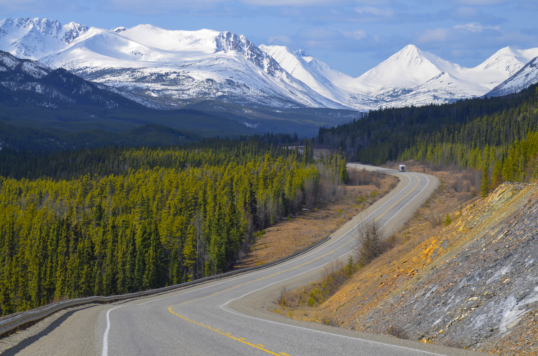 Scenic view of the Alaska Highway in the Yukon Territory, Canada