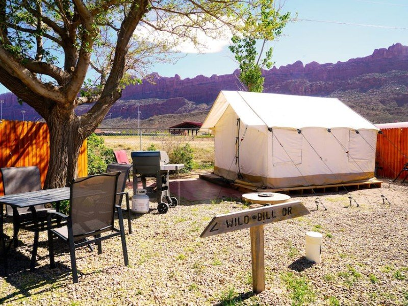 View at FunStays Glamping Setup Tent in RV Park