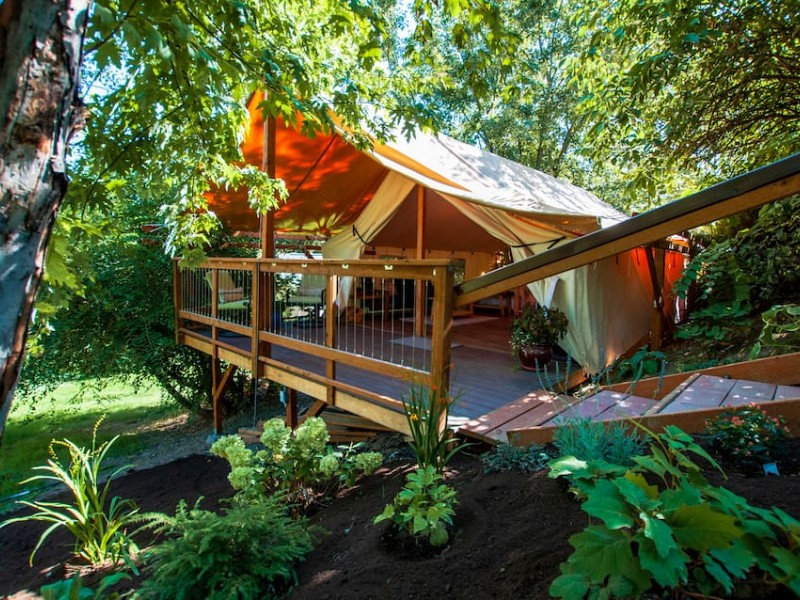 Among the Trees in Hideaway Tent with Pool and Hot Tub