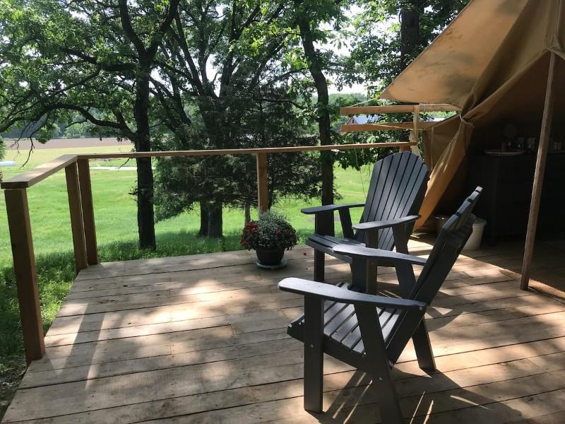 Porch at Luna Valley Farm Stay (Tent #1) – Decorah, Iowa