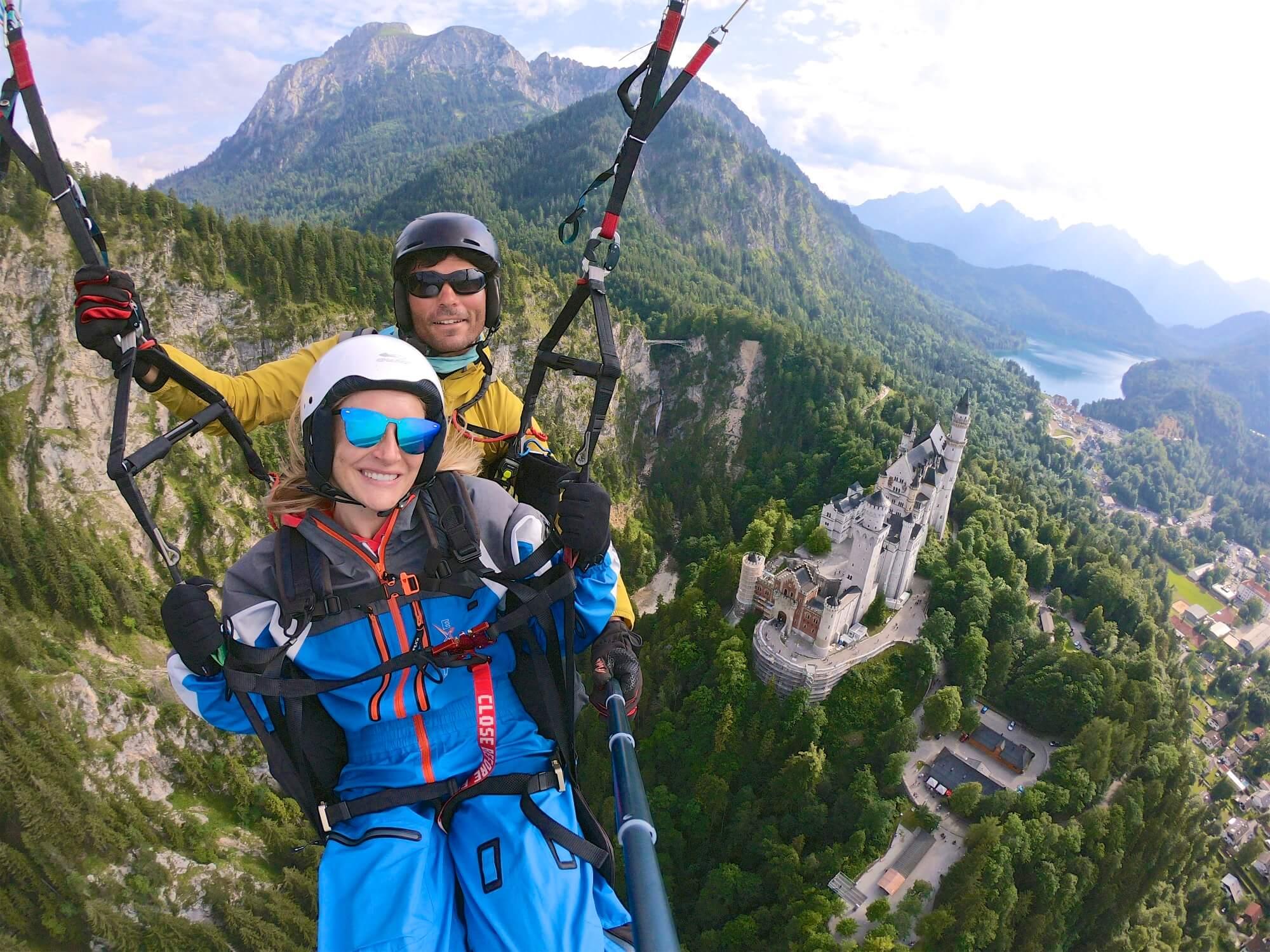 Paragliding over Neuschwanstein Castle